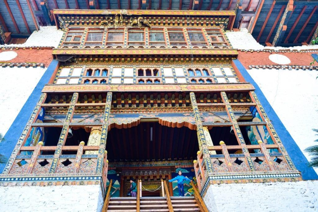 Inside View of Gigantic Gate of Punakha Dzong
