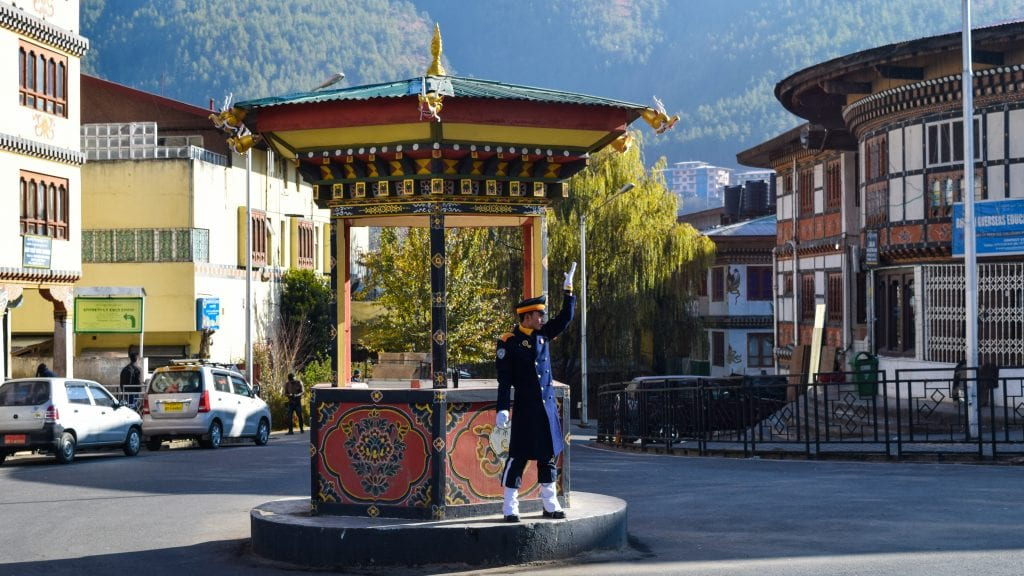 Traffic Police in Thimphu Bhutan