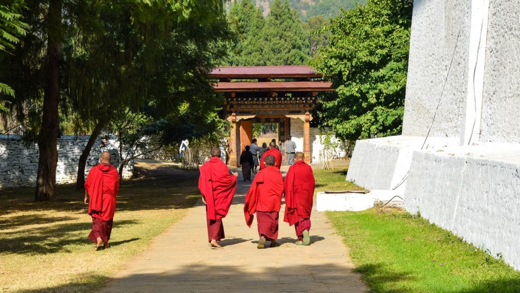 Young Monks in Punakha Bhutan