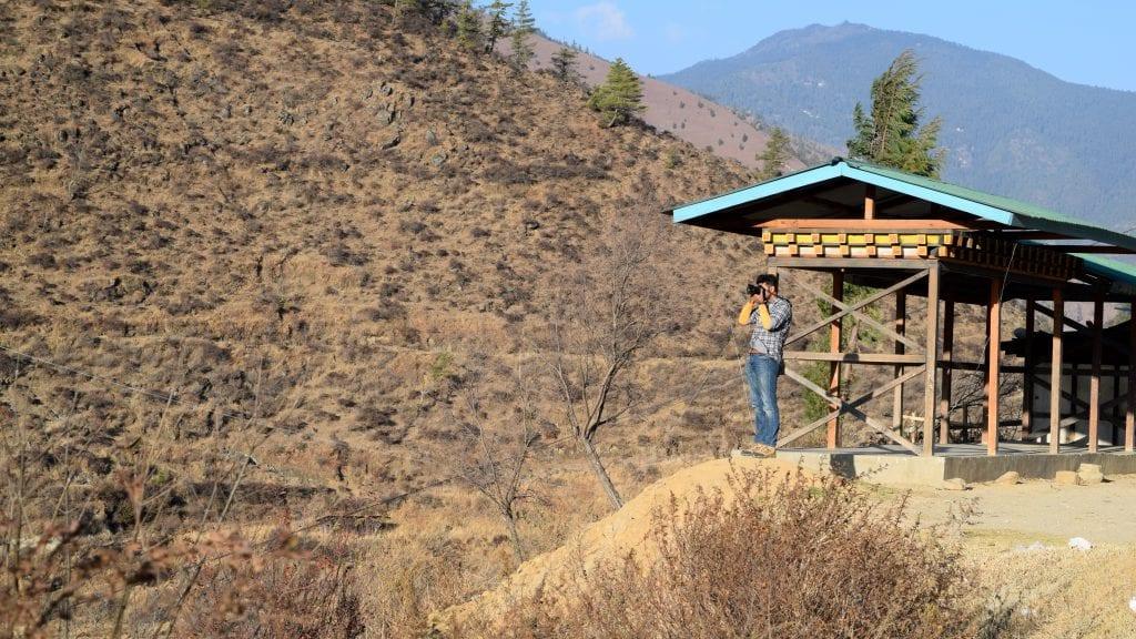Photographer in Bhutan during Winter