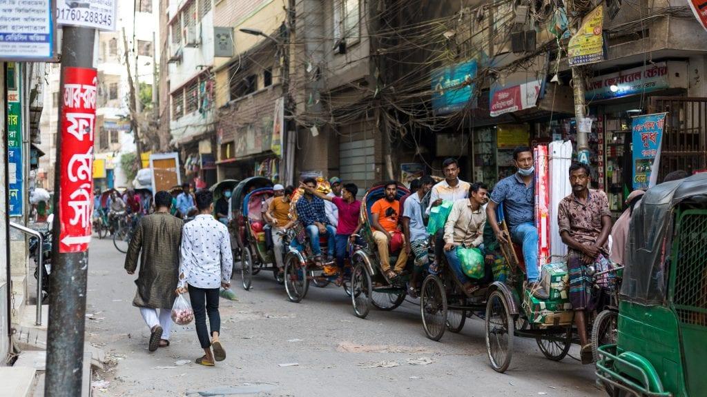 Rickshaws are stuck in old Dhaka