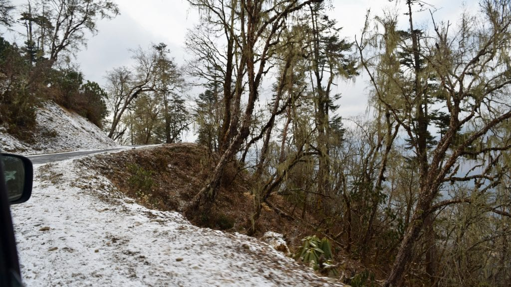Snowy Road to Phobjikha Valley