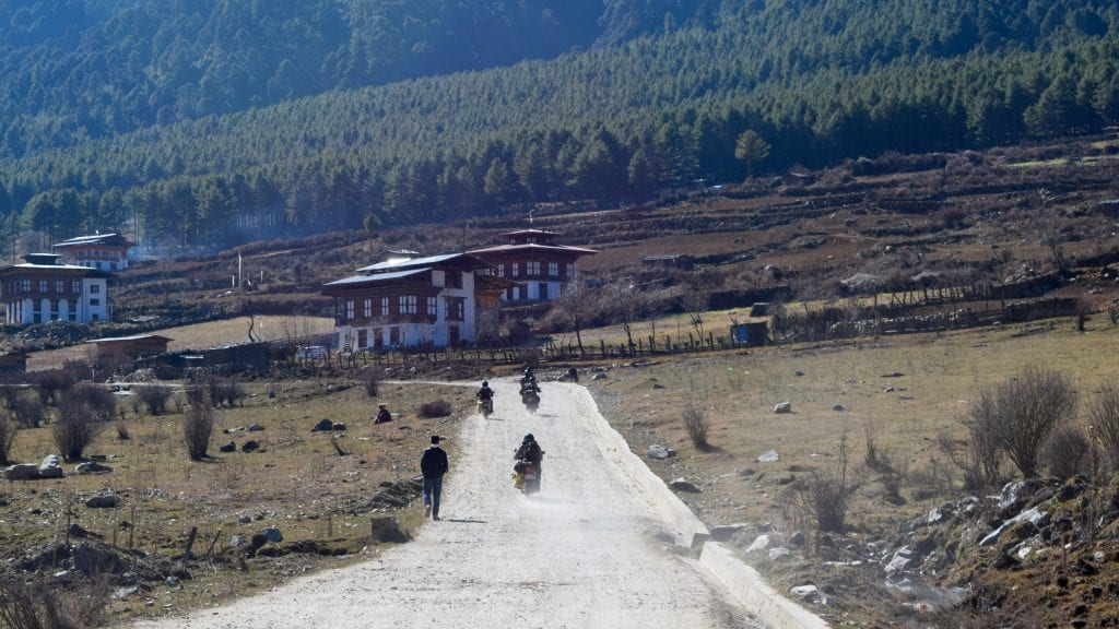 Indian Bikers in the Phobjikha Valley