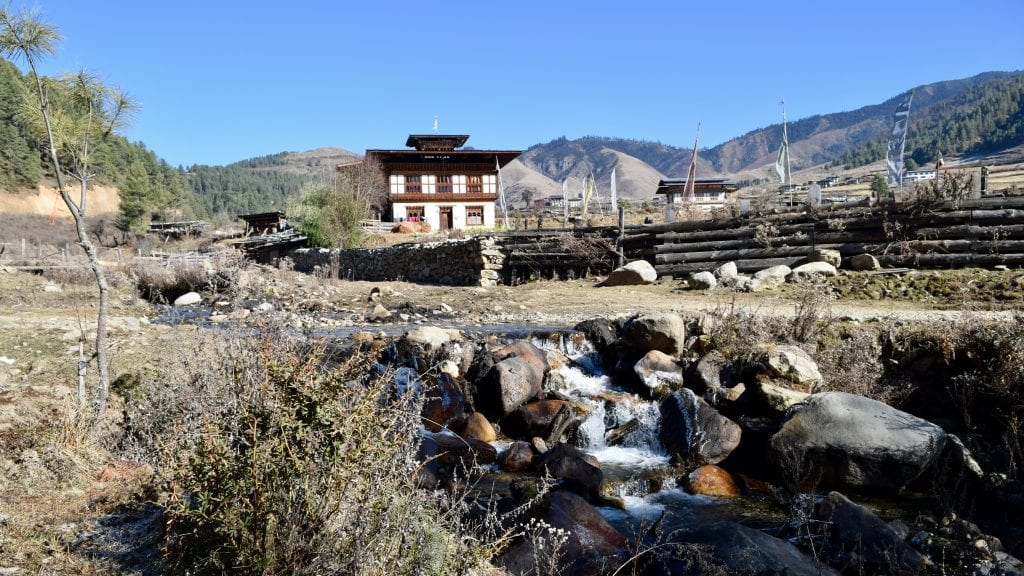 Water flowing in the Phobjikha Valley